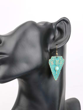 Antique Bronze Plated Resin stone Triangle Alloy Earrings