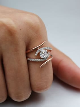 Copper With 18k Rose Gold Plated Delicate Cubic Zirconia Engagement Rings