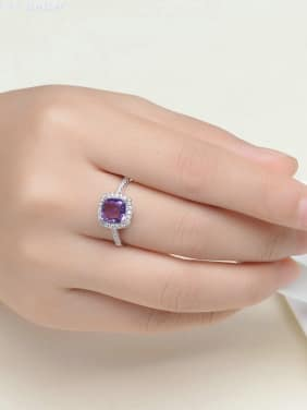 Natural Amethyst Zircons Platinum Plated Silver Ring