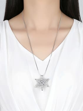 AAA zircon mosaic new snowflake fashion sweater chain