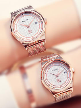 GUOU Brand Luxury Rose Gold Plated Lovers Watch