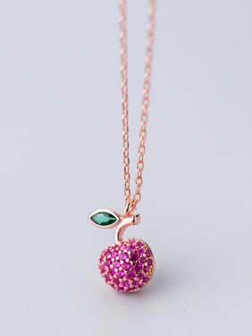 925 Sterling Silver With 18k Rose Gold Plated Cute Friut apple Necklaces