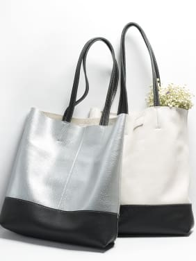 Fashion contrast color leather tote bag