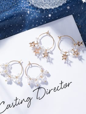 Alloy With Gold Plated Fashion Star Hoop Earrings