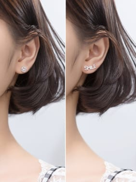 925 Sterling Silver With Cubic Zirconia Simplistic English smle smile asymmetry Stud Earrings