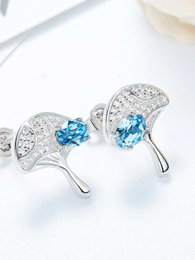 Fashion Shiny Swarovski Crystals-covered Leaf 925 Silver Stud Earrings