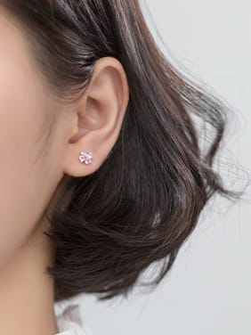 925 Sterling Silver With Cubic Zirconia Cute Flower Stud Earrings