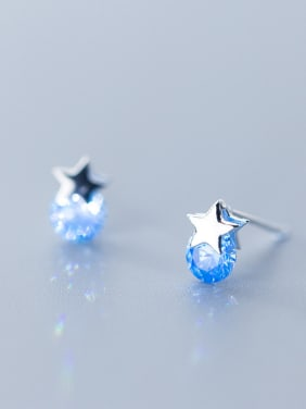 925 Sterling Silver With Silver Plated Personality Star Stud Earrings