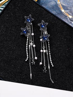 Alloy With Gun Plated Vintage Artificial Pearl Tassel Earrings