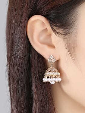 Copper inlaid AAA cubic zirconia Statement Chandelier Earrings