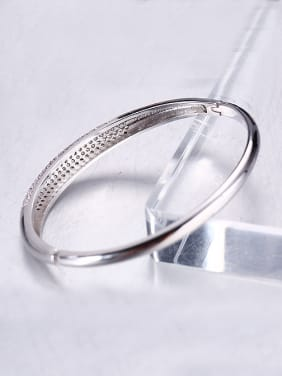 Copper Alloy White Gold Plated Simple style Zircon Bangle