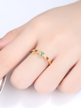 925 Sterling Silver With Gold Plated Simplistic Square Band Rings