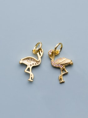 925 Sterling Silver With  Cubic Zirconia  Personality Red-Crowned Crane Pendants