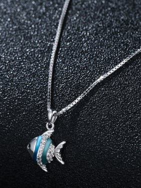 925 Sterling Silver With Platinum Plated Cute Small Fish Necklaces
