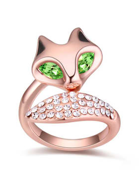 Personalized Swarovski Crystals-studded Fox Alloy Ring
