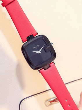GUOU Brand Simple Square Numberless Watch