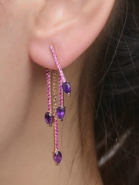Luxury Natural Amethyst Fashion Drop Earrings