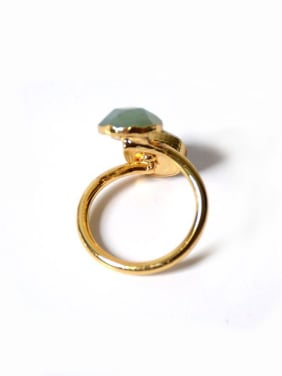 Fashion Gemstones Gold Plated Opening Ring