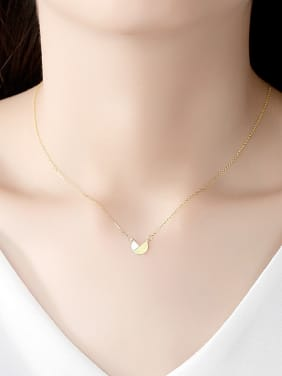 925 Sterling Silver With Smooth Simplistic  Two-color Plated Irregular Necklaces