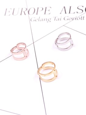 Hollow Alphabet Double Layer Opening Ring