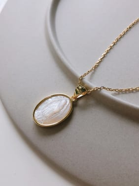 925 Sterling Silver With Gold Plated Simplistic Oval Necklaces