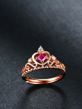 925 silver with 18K platinum gemstone  ruby crown ring