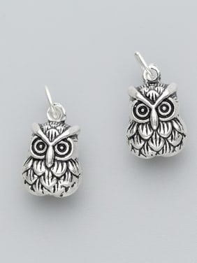 925 Sterling Silver With Antique Silver Plated Cute Owl Charms
