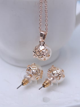 Alloy Rose Gold Plated Fashion Hollow Flowers Artificial Pearl Two Pieces Jewelry Set