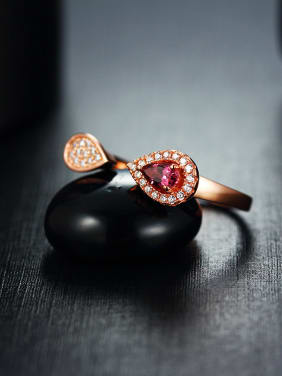 Ruby Gemstone Zircon Water Drop shaped Opening Cocktail Ring