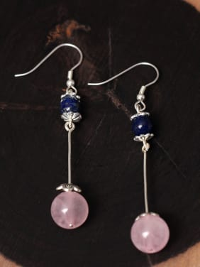 Natural Pink Stones Hook Earrings
