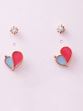 Alloy With Rose Gold Plated Cute Heart Stud Earrings