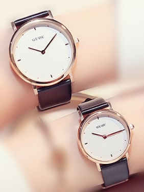 GUOU Brand Simple Mechanical Round Lovers Watch