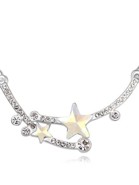 Elegant Star Cubic Swarovski Crystals Pendant Alloy Necklace