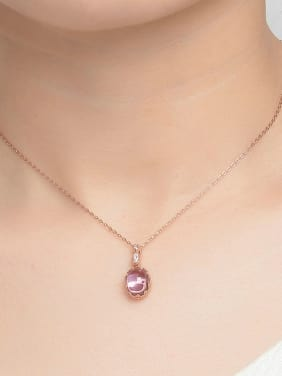 Egg-shape Natural Amethyst Rose Gold Plated Pendant