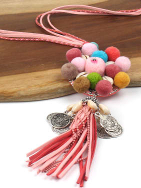 Western Style Colorful Women Sweater Necklace