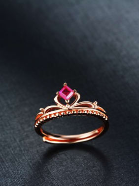 Rose Gold Plated Ruby Crown Ring
