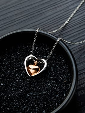 Titanium With Platinum Plated Simplistic Heart Locket Necklace