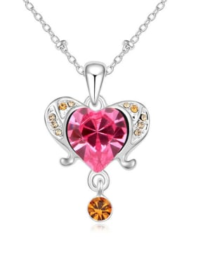 Fashion Swarovski Crystals Heart Alloy Platinum Plated Necklace