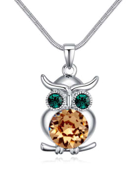 Personalized Owl Pendant Cubic Swarovski Crystals Alloy Necklace