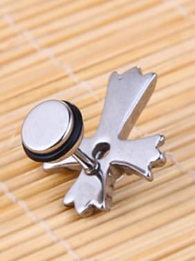 Stainless Steel With Antique Silver Plated Fashion Cross Stud Earrings