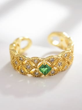 New Golden Pattern Openwork Lace Emerald Free Size Ring