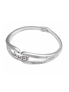 Simple Little Swarovski Crystals Alloy Bangle