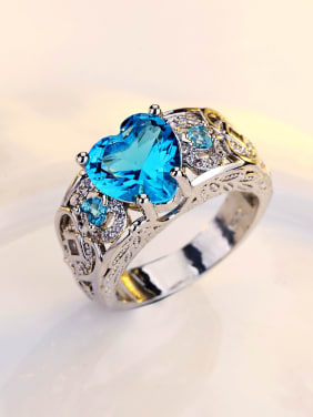 Color Shining Heart-shape Zircons Fashion Ring