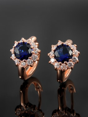 Luxury Rose Gold Plated Blue Flower Shaped Clip Earrings