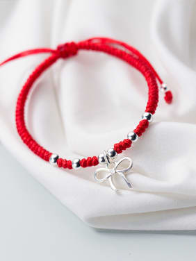925 Sterling Silver With Silver Plated Cute Bowknot Weaving Bracelets