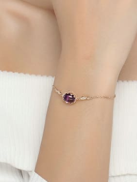 Natural Amethyst Rose Gold Plated Simple Bracelet