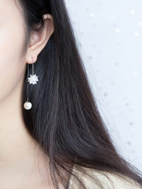 925 Sterling Silver With Rhodium Plated Trendy Flower Threader Earrings