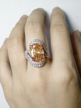 Exaggerated Shiny Oval Cubic Zirconias Copper Ring