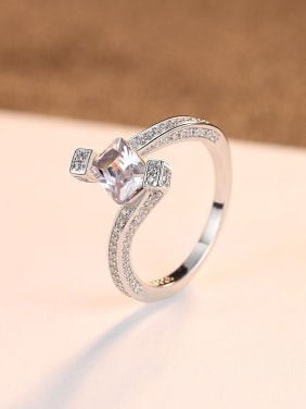 925 Sterling Silver With  Cubic Zirconia Delicate Geometric Band Rings