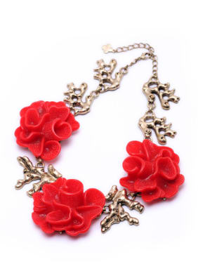 Red Flower Exaggerate Women Necklace